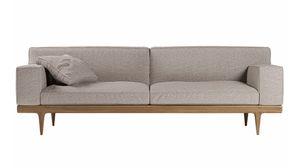 Sunday Sofa, Elegantes Sofa mit Sockel in Canaletto Nussbaum