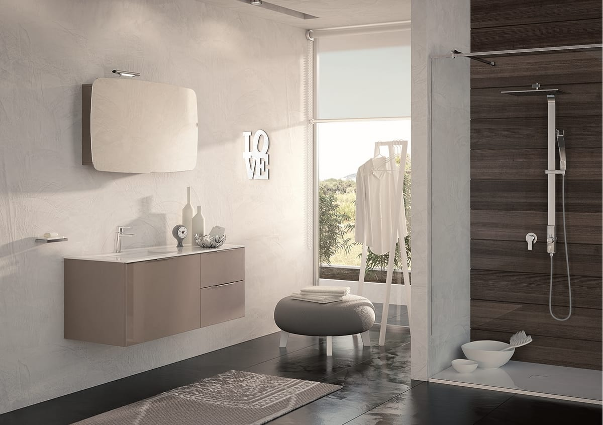 Polierter dunkler taubengrauer Schrank für Badezimmer ...
