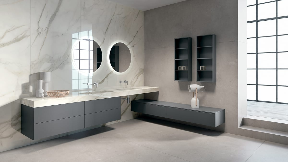 Komplette Möbel für Badezimmer mit Doppelwaschbecken | IDFdesign