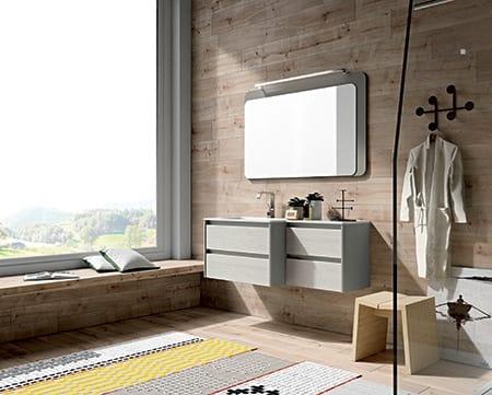 Dress 2.0 comp.05, Badezimmerschrank aus Holz mit Spiegel