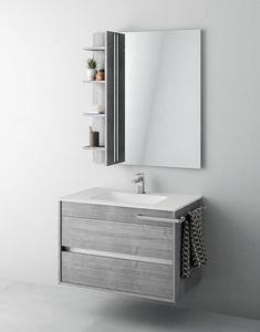 Duetto comp.01, Badezimmerschrank mit Spiegel und Ablagefach
