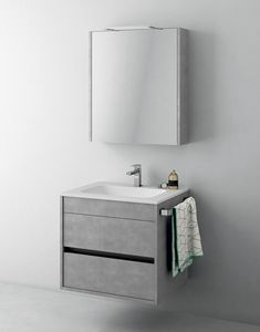 Duetto comp.02, Platzsparender Schrank für Badezimmer mit Spiegel