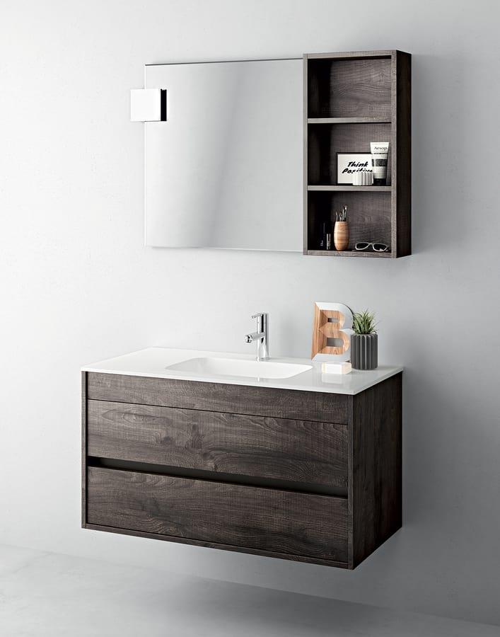 Platzsparender Schrank für Badezimmer mit Spiegel und Regal | IDFdesign