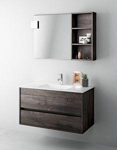 Duetto comp.03, Platzsparender Schrank für Badezimmer mit Spiegel und Regal
