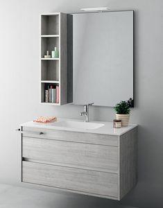 Duetto comp.09, Platzsparender Badezimmerschrank mit Schubladen