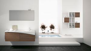FLY 08, Komplette Walnussmöbel für das Badezimmer