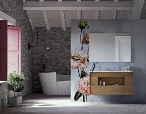 Lume comp.01, Badezimmerschrank aus Holz, mit Öffnungen ohne Griffe
