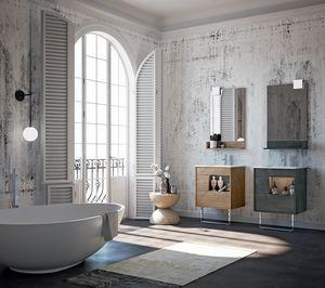 Lume comp.04, Badezimmermöbel mit Spiegel und Schubladen