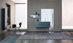 Tender comp.04, Badezimmerschrank mit großem Spiegel und Regalen
