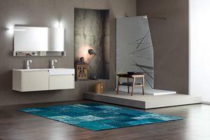 Tender comp.06, Badezimmerschrank mit Doppelwaschbecken und Staufächern