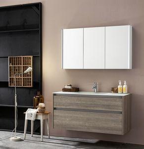 Kami comp.05, Modulares Badezimmerschrank mit Spiegel