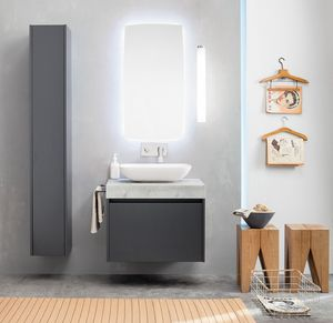 Kami comp.12, Modulares Badezimmerschrank mit Speichersäule
