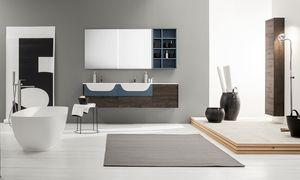 Kami comp.15, Modulares Badezimmerschrank mit Doppelwaschbecken