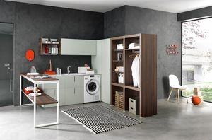 Lime Wash comp.06, Eckmöbel für Wäsche, komplett ausgestattet