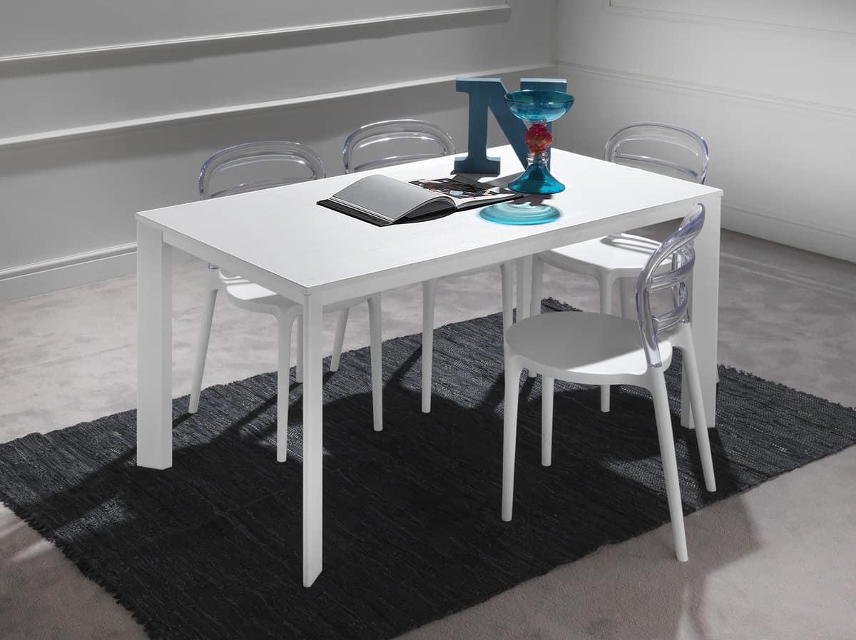 Teleskop-Tisch aus Aluminium, mit Tischplatte aus Melamin | IDFdesign