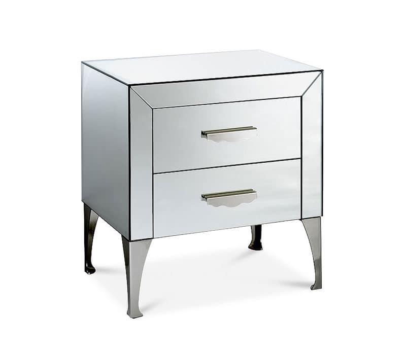 nachttisch mit holzrahmen mit spiegeln bedeckt idfdesign. Black Bedroom Furniture Sets. Home Design Ideas