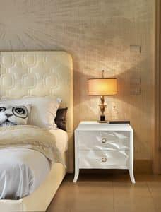 Art. VL722F, Nachttisch mit zwei Schubladen, glänzend weiß lackiert