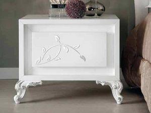 Camelia Nachttisch, Nachttisch aus weiß lackiertem Holz
