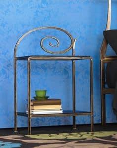 Capriccio Nachttisch, Metall Nachtschränkchen mit Dekorationen, für Hotelzimmer