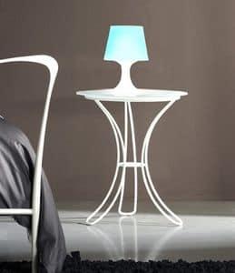 Fiocco Nachttisch, Nachttisch mit Metallsockel und satiniertem Glas
