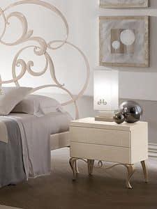 Ghirigori Nachttisch, Holztisch mit Eisen-Basis, für die Schlafzimmer