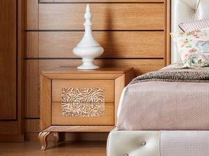 Giulietta e Romeo Nachttisch, Nachttisch aus Holz mit dreidimensionaler Dekoration