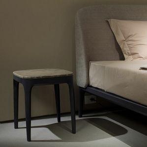 Manda Nachttisch, Nachttisch aus Holz mit Marmorplatte