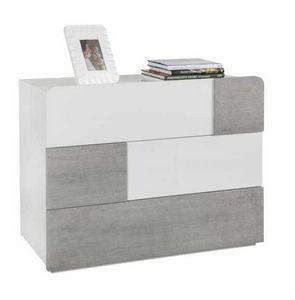 Nachttisch Kabinett Weiß Glänzend 3 Schubladen Konkrete Wirkung Modernes Design, Moderner Nachttisch für Schlafzimmer