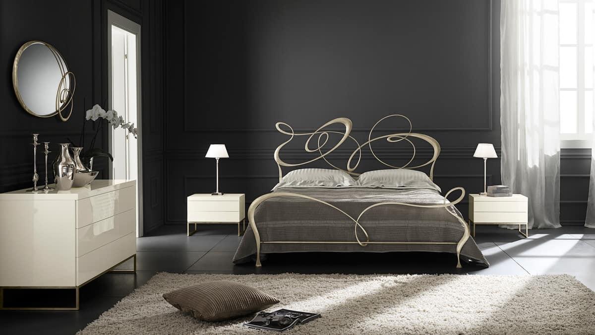 Moderne Nachttisch mit Metallfüßen, Holzrahmen | IDFdesign