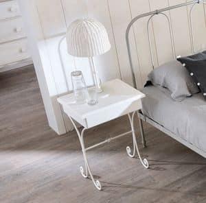 Nuvola Old Style Nachttisch, Nachttisch aus gebogenem Eisen, Holz platte