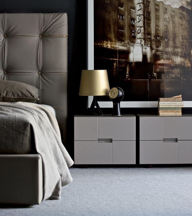 Hochwertig Palea Nachttisch, Nachttische Mit 2 Schubladen, Modern Linear, Für Zimmer  Und Hotels