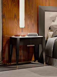 PARK AVENUE Bettseite, Nachttisch mit weißer Carrara-Marmorplatte