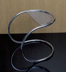 Stool, Hocker mit gebogenem Gestell aus verchromtem Stahl
