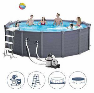Intex-Schwimmbad 26382 Ex 28382 Graphit-Runde 478x124, Großer runder aufblasbarer Pool für den Außenbereich