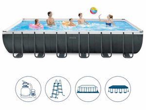 Intex Swimming Pool 26364 Ex 26362 Ultra Large Rechteckrahmen 732x366x132, Rechteckiger Pool oberirdisch