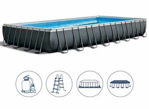 Intex Swimming Pool 26374 Ex 26372 Ultra Frame rechteckig groß 975x488x132, Großer aufblasbarer Pool mit Abdeckung