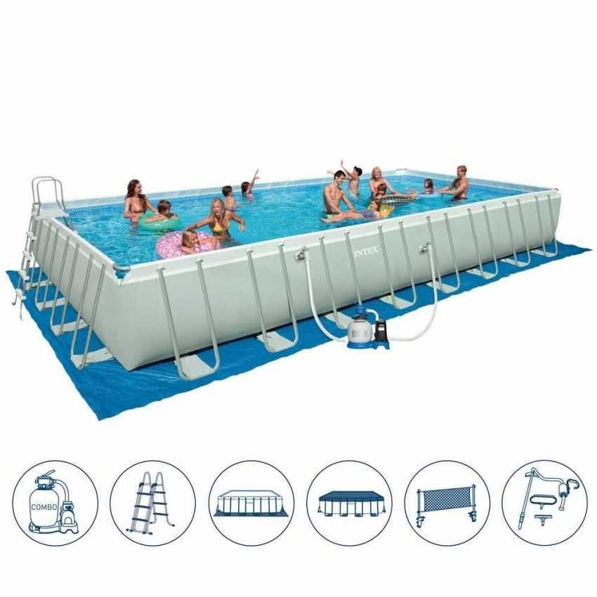 Über dem Boden Pool mit Volleyball-Set | IDFdesign