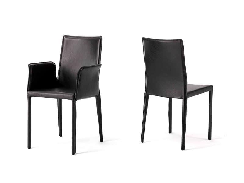 Anemone with armrests, Stuhl mit Ledersitz, für Hotelzimmer
