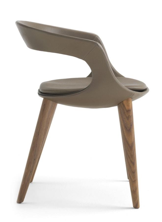 Sessel Aus Holz Mit Schale Aus Leder Idfdesign