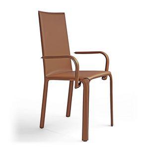 Jenia c/Arme, Stuhl mit Armlehnen, Ledersitz, für Hotels