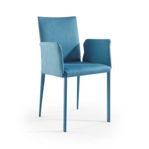 Jury low BR, Moderner Stuhl mit Stoffbezug und Armlehnen