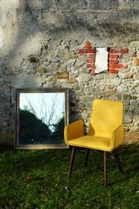 VENEDIG Stuhl, Sessel aus Holz und Leder mit sichtbaren Nähten
