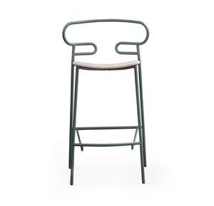 ART. 0049-MET STOOL GENOA, Metallhocker mit Holzsitz