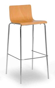 Lilly stool, Metallhocker mit Holzschale