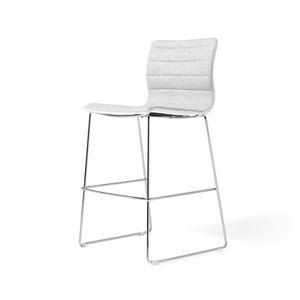 Miss stool, Gepolsterte Hocker mit Gestell aus verchromtem Stahl