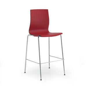 Q3, Metallhocker mit Sitz und Rückenlehne aus Polypropylen