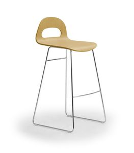 Samba Wood stool sled, Hocker mit Kufengestell, Holzschale