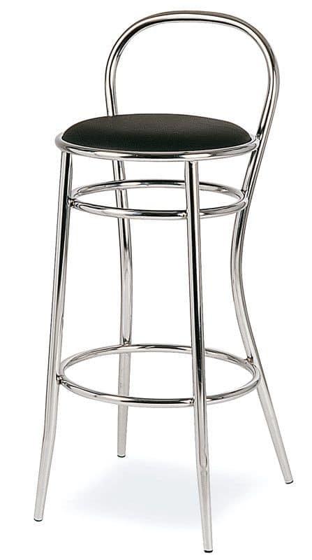 SG 020, Hocker aus gebogenem Metall, runder Sitz, für Hotels
