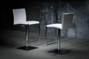 ART. 251/A DIAMOND STOOL, Barhocker mit unedlen Metallen, Leder Sitz und Rückenlehne