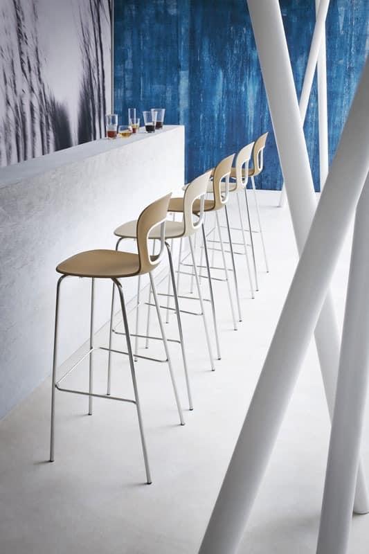 Blog Stool 68, Metall-Barhocker mit Sitz aus Kunststoff, für das Hotel